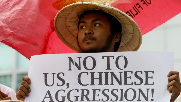 Protesters upset over missiles in South China Sea