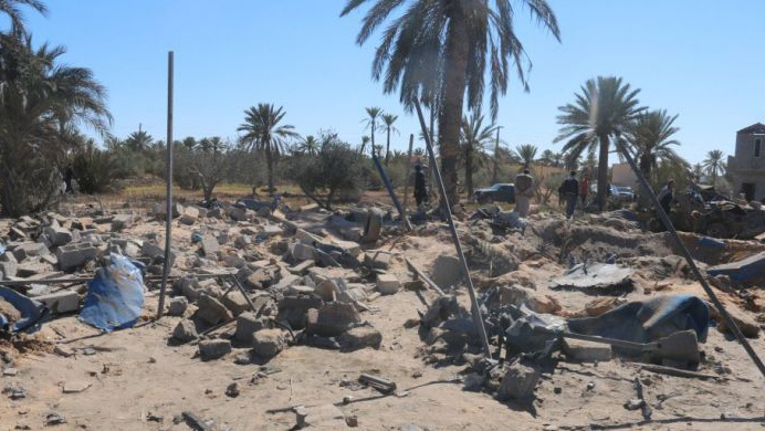 Dozens of people were killed in a U.S. strike on an Islamic State Target in Libya, Friday, Feb. 19, 2016. (Sabratha Municipal Council / Facebook)