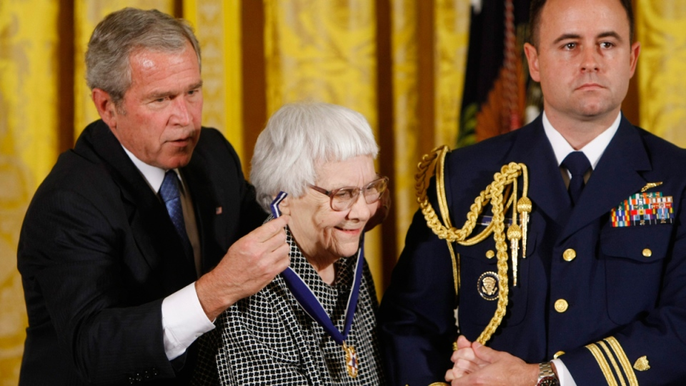 Harper Lee receives the Presidential Medal of Freedom on Nov. 5, 2007. (Gerald Herbert / AP)