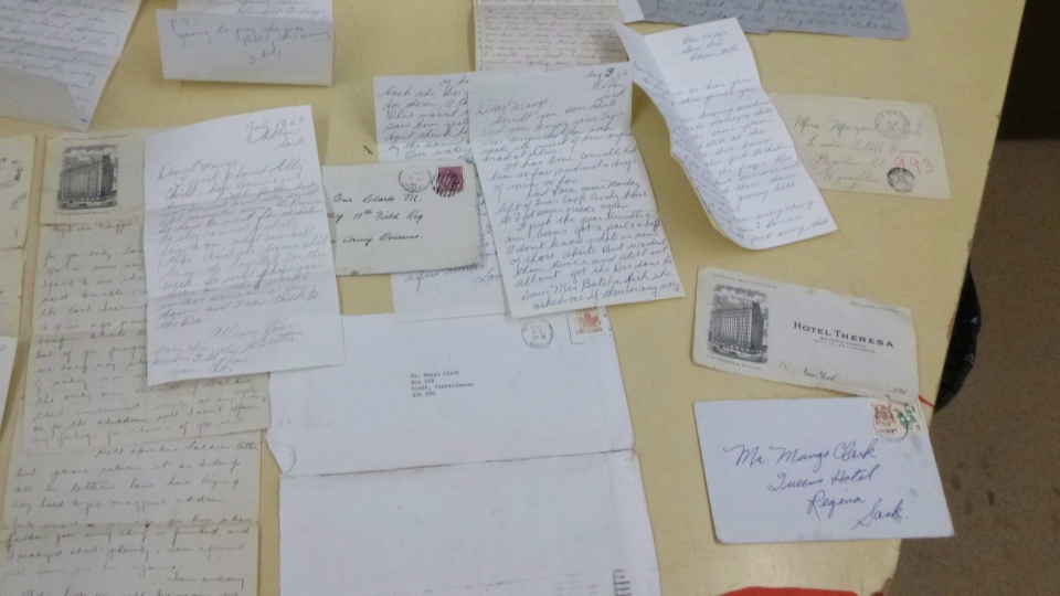 Letters recovered from a stolen vehicle in Rimbey, Alta., are shown in this recent handout photo. RCMP are trying to find relatives of a woman and a soldier who wrote letters to each other during and after the Second World War. (THE CANADIAN PRESS/HO - RCMP)