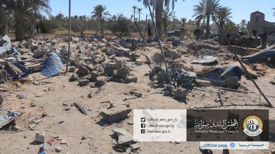 In this picture released online by the Sabratha Municipal Council on Friday, Feb. 19, 2016 shows the site where U.S. warplanes struck an Islamic State training camp in Sabratha, Libya near the Tunisian border. (Sabratha Municipal Council via AP)