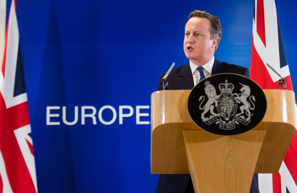 British Prime Minister David Cameron speaks during a final press conference at an EU summit in Brussels on Friday, Feb. 19, 2016. (AP/Geert Vanden Wijngaert)