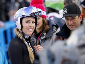 United States' Lindsey Vonn looks up at the finish area after crashing during a women's Alpine ski downhill race, in La Thuile, Italy, Friday, Feb. 19, 2016. (AP/Alessandro Trovati)