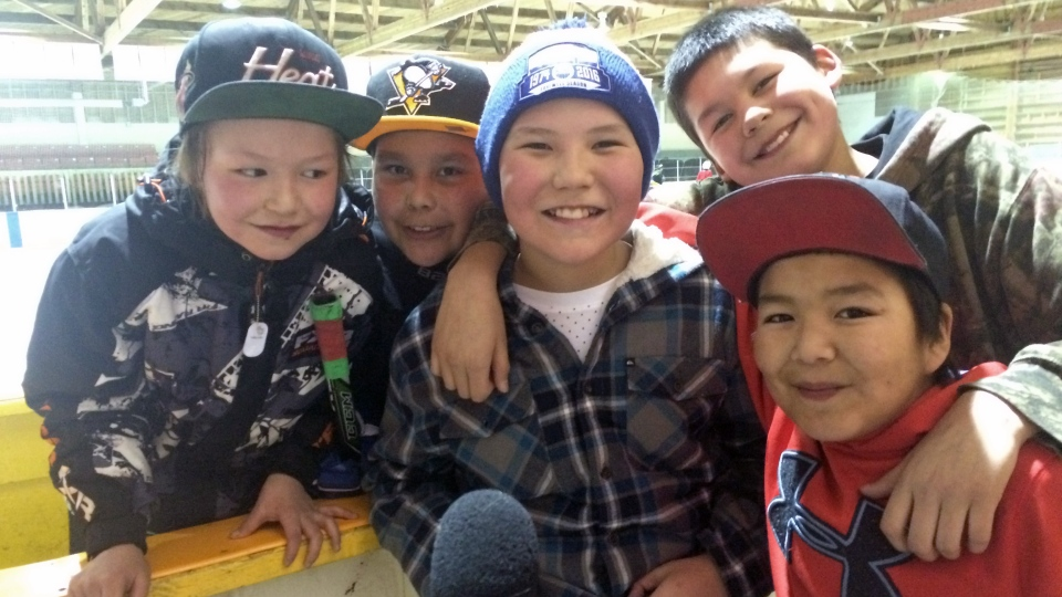 Children in La Loche, Sask. enjoy the town's annual winter festival.