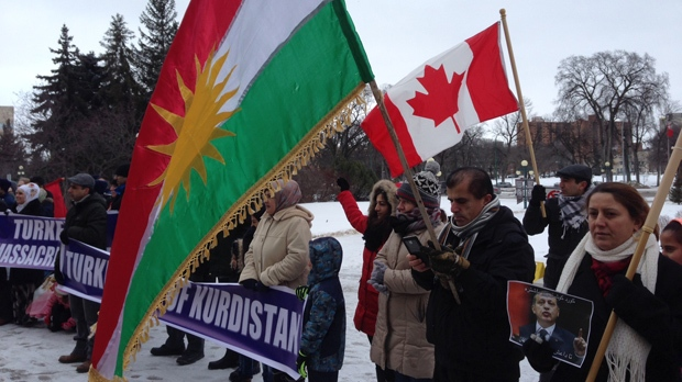 Kurdish protesters gather on the steps of the Legislative Building on Saturday, Feb. 20, 2016.