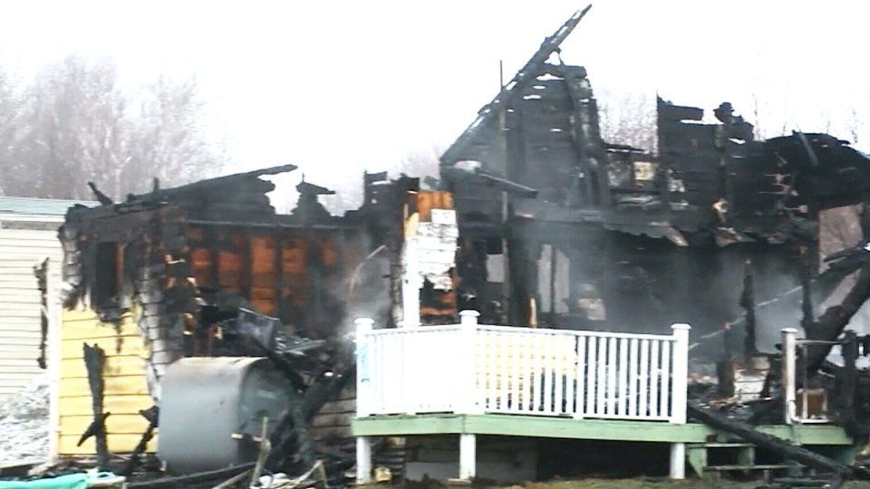 This house in Alder Point, Nova Scotia was burned nearly to its foundation after a fast-moving fire on Sunday, February 21, 2016.