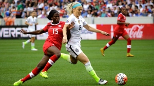 United States' Julie Johnston (8) keeps Canada's Nichelle Prince (15) from the ball during the first half of the CONCACAF Olympic women's soccer qualifying championship final Sunday, Feb. 21, 2016, in Houston. (AP Photo / David J. Phillip)