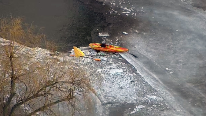 A kayak sits on the ice of the Credit River near Terra Cotta on Monday, Feb. 22, 2016.