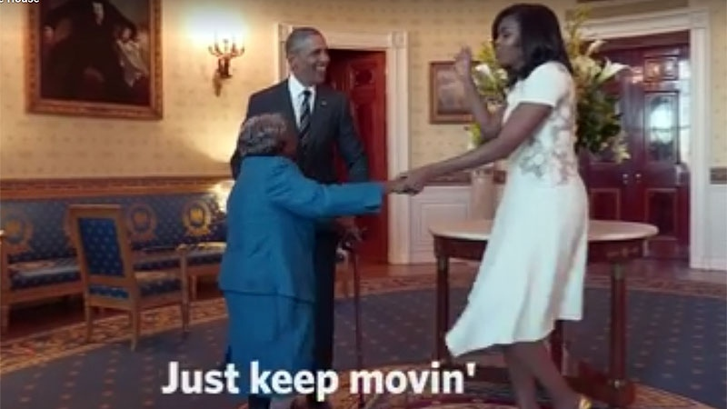Virginia McLaurin dances with Barack and Michelle Obama in the White House.