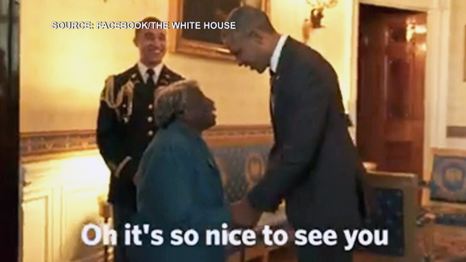 Virginia McLaurin, 106, meets U.S. President Barack Obama.
