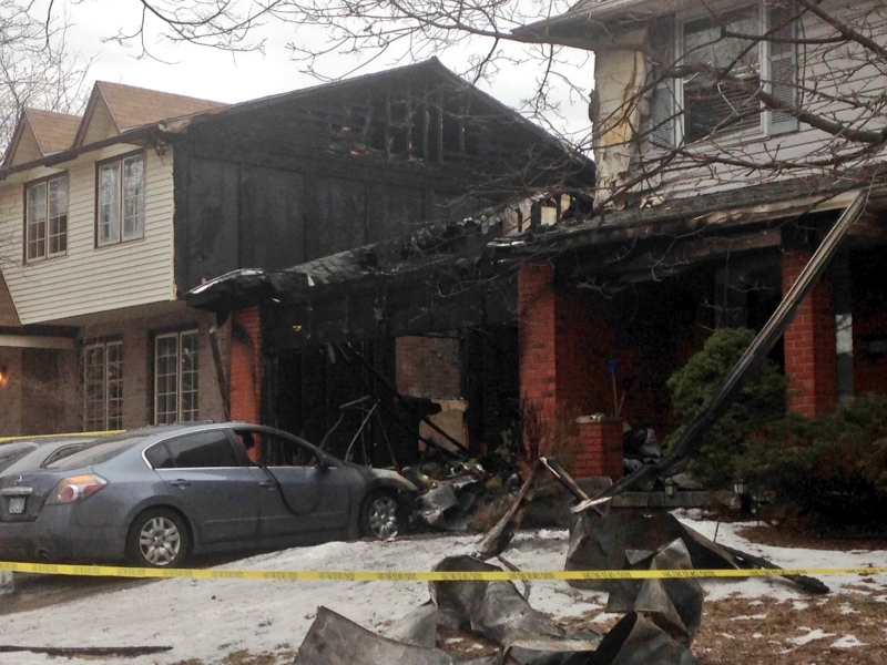Two homes in Byron sustained heavy damage following an early morning fire on Monday, February 22, 2016. (Gerry Dewan / CTV London)