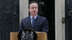 British Prime Minister David Cameron makes a statement outside 10 Downing Street in London, Saturday Feb. 20, 2016.(AP Photo/Tim Ireland)
