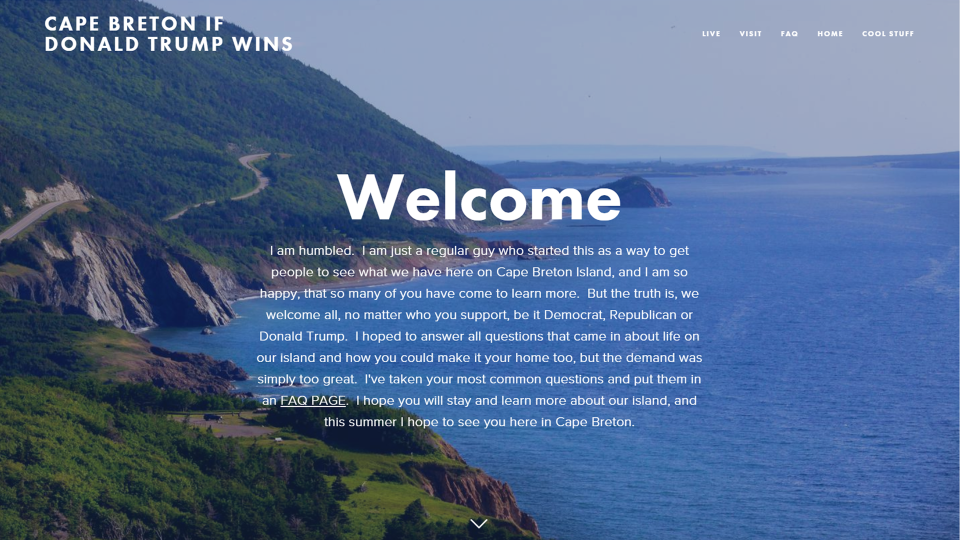 "A screenshot from the home page of the ""Cape Breton If Donald Trump Wins"" website created by Rob Calabrese ."