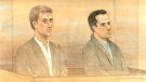 Dellen Millard and Mark Smich are shown in this court sketch.