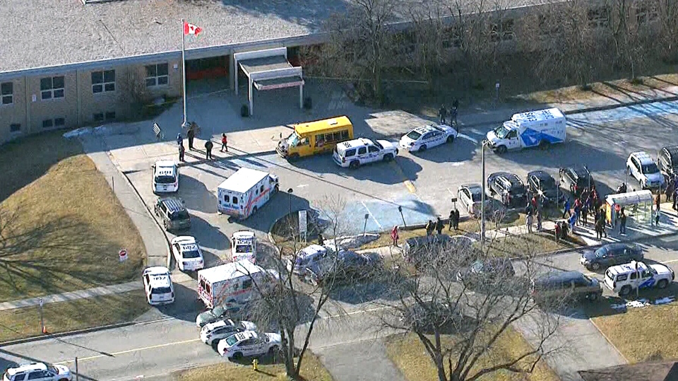 A female student is in custody after several students were stabbed at a Pickering, Ont., high school on Tuesday, Feb. 23, 2016.
