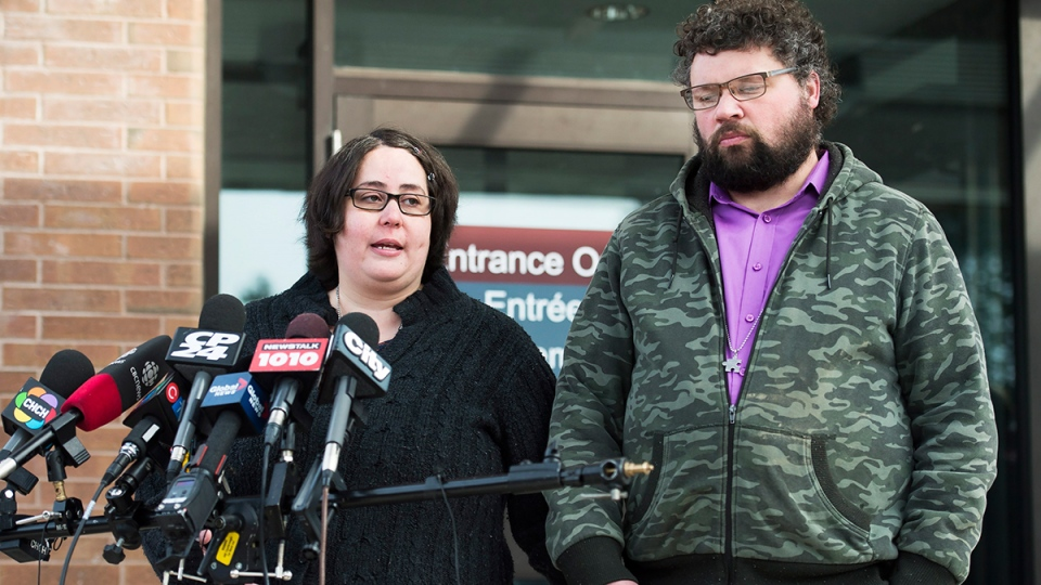 Jennifer Neville-Lake and her husband Edward speak to the media outside court in Newmarket, Ont., on Tuesday, Feb. 23, 2016. (Nathan Denette / THE CANADIAN PRESS)