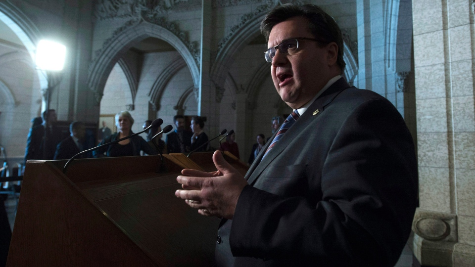Montreal Mayor Denis Coderre speaks with the media, in Ottawa, on Friday, Feb. 5, 2016. (Adrian Wyld/The Canadian Press)