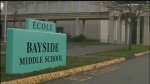 The exterior of Bayside Middle School, within the bounds of SD 63, is shown: May 16, 2016 (CTV News)