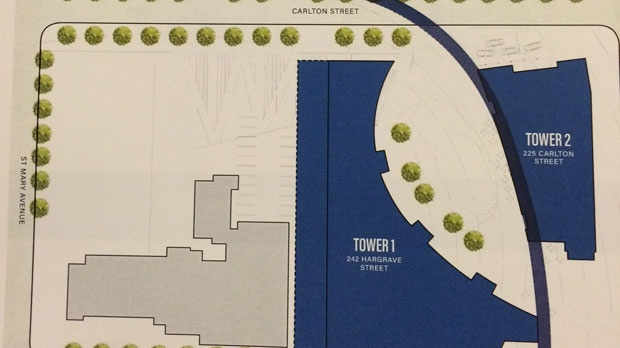 The second section of the site plan for True North Square.