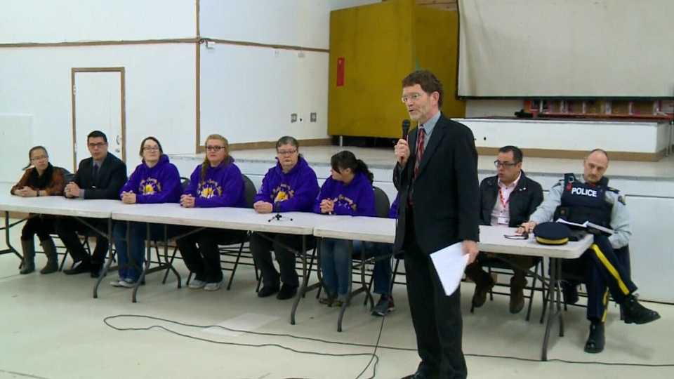 Staff and administrators at the La Loche Community School speak to the media on Wednesday, Feb. 24, 2016.