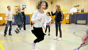 Seven-year-old Trinity Reistad jumpes rope on Thursday, Feb. 16, 2012 in Corvallis, Ore. (AP /  Corvallis Gazette-Times, Andy Cripe )
