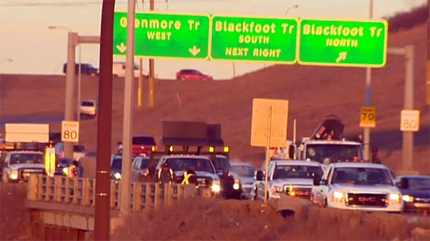 Traffic was backed up on Glenmore Trail for several hours while crews worked to clean up the debris.