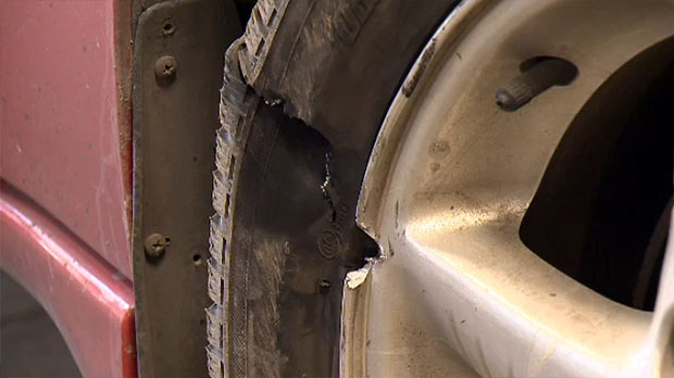 Tires were punctured on several vehicles after they ran over a piece of steel on a bridge over an old rail line.