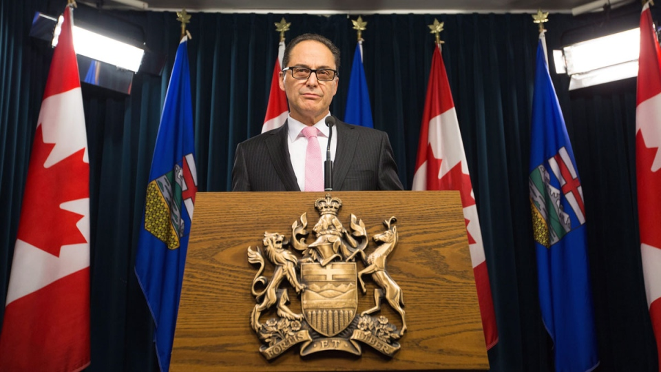 Alberta Finance Minister Joe Ceci gives a third-quarter fiscal update in Edmonton on Wednesday, Feb. 24, 2016. (Amber Bracken / THE CANADIAN PRESS)