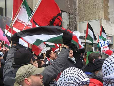 Protesters came out in Toronto on Sunday, Dec. 28, 2008 to denounce the Israeli military action in the Gaza Strip and show solidarity with the Palestinian people. (THE CANADIAN PRESS/Colin Perkel)