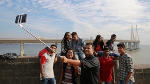 Indians take a selfie in Mumbai's coastline on Feb. 22, 2016. (AP / Rafiq Maqbool)