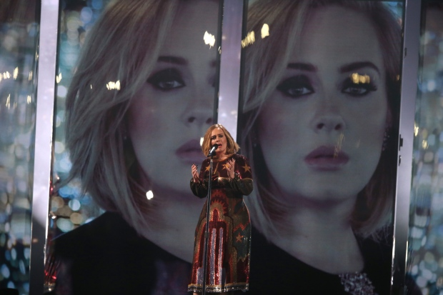 Singer Adele performs onstage at the Brit Awards 2016 at the 02 Arena in London, Wednesday, Feb. 24, 2016. (Photo by Joel Ryan/Invision/AP)