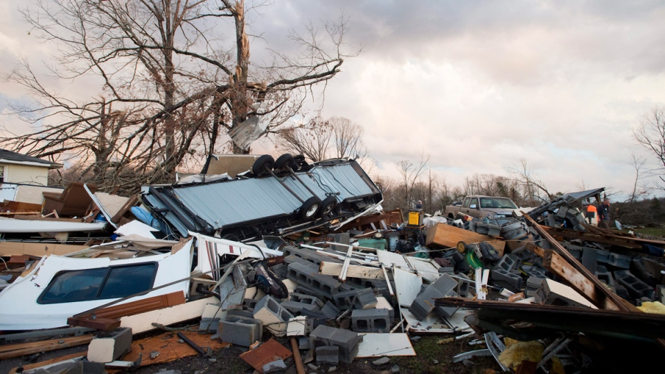 Tornado damage along Richmond Highway in Appomattox County, Virginia, on Feb. 24, 2016. (The News & Advance / News & Daily Advance)