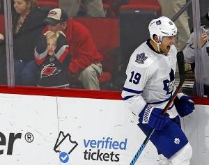 Toronto Maple Leafs' Joffrey Lupul (19) celebrates his game winning goal in the shootout of an NHL hockey game against the Carolina Hurricanes, Friday, Nov. 20, 2015, in Raleigh, N.C. (AP Photo/Karl B DeBlaker)