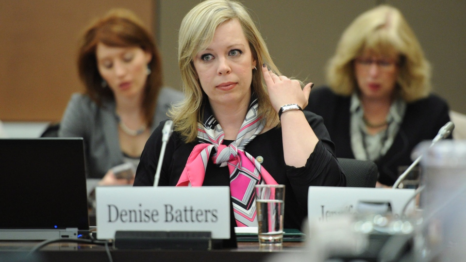 Denise Batters, wife of Regina MP Dave Batters who died of suicide, appears as a witness at a commons health committee on mental illness in Ottawa, on Thursday, March 8, 2012. (Sean Kilpatrick / THE CANADIAN PRESS)