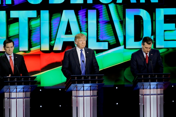 Marco Rubio, Donald Trump and Ted Cruz