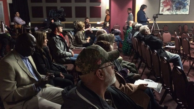A crowd of about 25 people gathered Thursday night at the Franco Manitoban Cultural Centre in St. Boniface to hear an environmental group highlight concerns over the proposed Energy East project.