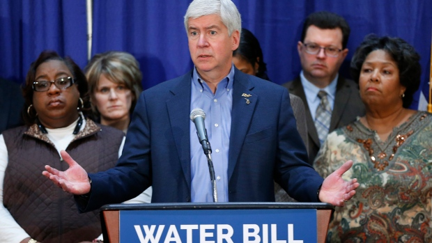 Gov. Rick Snyder in Flint, Mich.