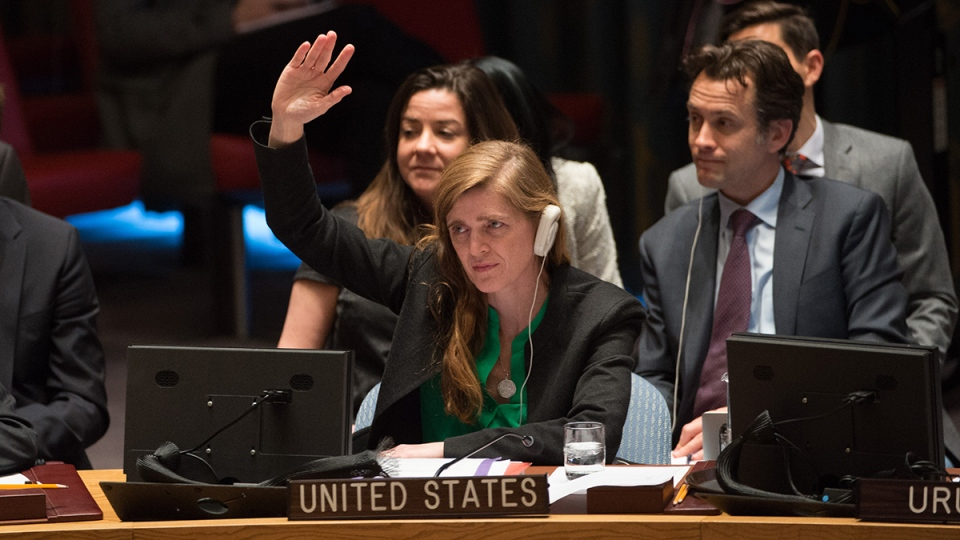 United States Ambassador to the United Nations Samantha Power votes to support a United Nations resolution endorsing a cease-fire in Syria, at United Nations headquarters, Friday, Feb. 26, 2016. (AP / Bryan R. Smith)