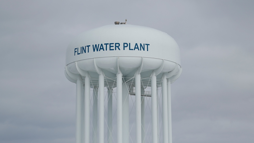 The Flint Water Plant tower is seen, in Flint, Mich., Friday, Feb. 26, 2016. (AP / Paul Sancya)