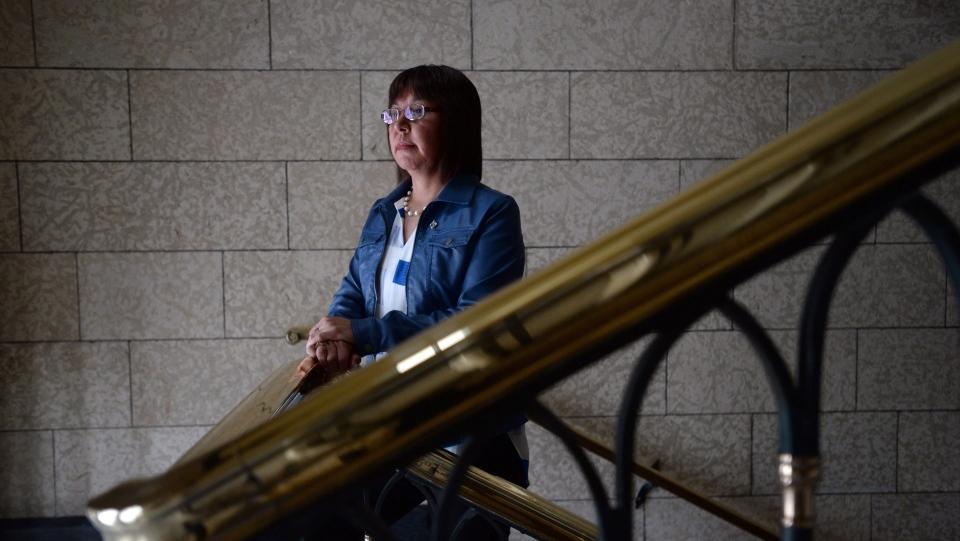 NDP MP Georgina Jolibois, Desnethe-Missinippi-Churchill River, is pictured on Parliament Hill in Ottawa on Thursday, Feb. 25, 2016. (Sean Kilpatrick / THE CANADIAN PRESS)