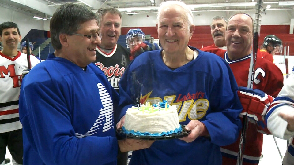 Hockey player Mike Campbell celebrates his 90th birthday in Cape Breton, N.S., in this undated image.
