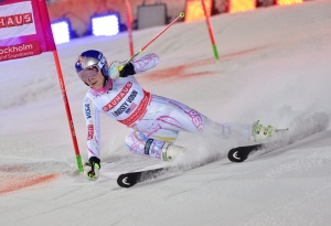 Lindsey Vonn of the U.S competes during women's Parallel Slalom City Event of the FIS Alpine Skiing World Cup on Tuesday, Feb. 23, 2016. (Jonas Ekstromer / TT via AP)