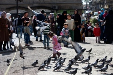 Syrian girl chases pigeons