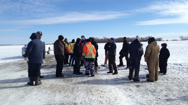 A group of farmers near Landmark, Man. have blocked access to construction workers trying to build part of Manitoba Hydro's Bipole 3 transmission line.