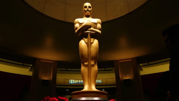This Feb. 21, 2015 file photo shows an Oscar statue as preparations are made for the 87th Academy Awards in Los Angeles. (Matt Sayles/Invision/AP)