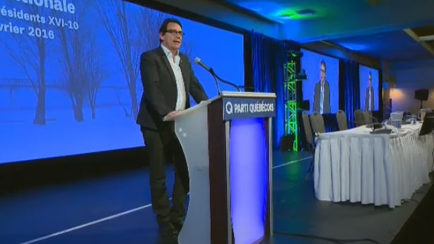 PQ Leader Pierre Karl Peladeau speaks to party members at the national council meeting.