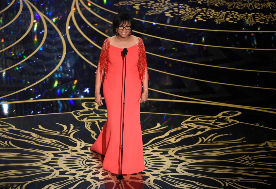 President of Academy of the Motion Picture Arts and Sciences Cheryl Boone Isaacs speaks at the Oscars on Sunday, Feb. 28, 2016, at the Dolby Theatre in Los Angeles. (Photo by Chris Pizzello/Invision/AP)