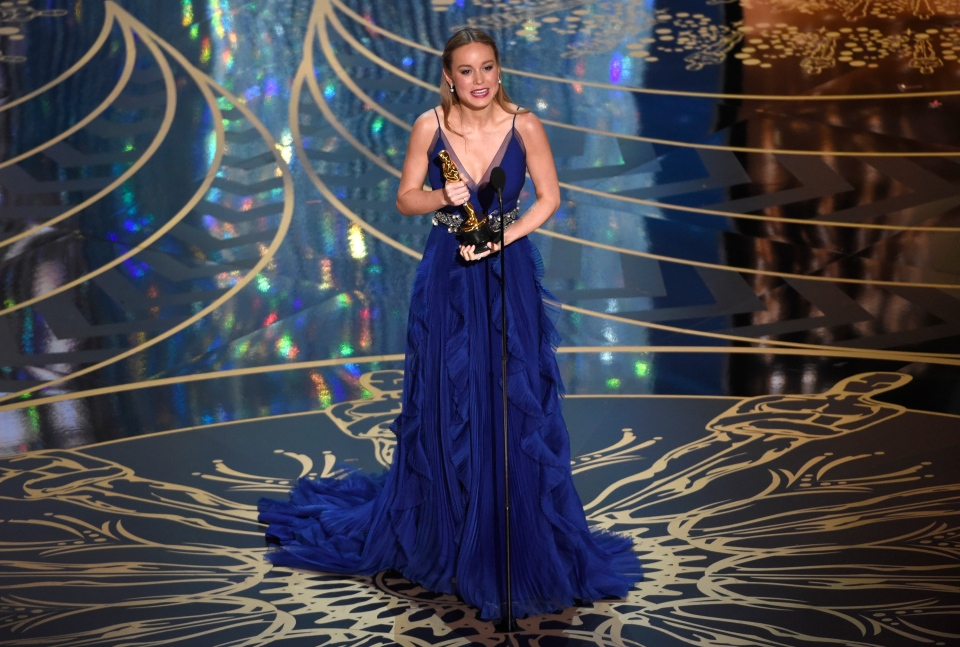 Brie Larson accepts the award for best actress in a leading role for 'Room' at the Oscars on Sunday, Feb. 28, 2016, at the Dolby Theatre in Los Angeles. (Photo by Chris Pizzello/Invision/AP)