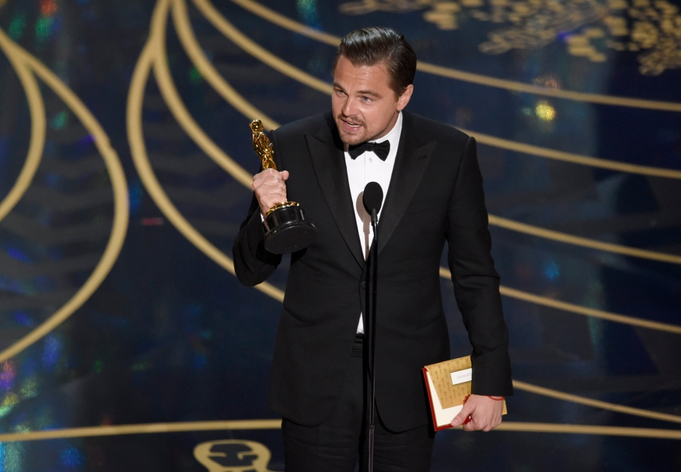 Leonardo DiCaprio accepts the award for best actor in a leading role for 'The Revenant' at the Oscars at the Dolby Theatre in Los Angeles, Sunday, Feb. 28, 2016. (Chris Pizzello / Invision)