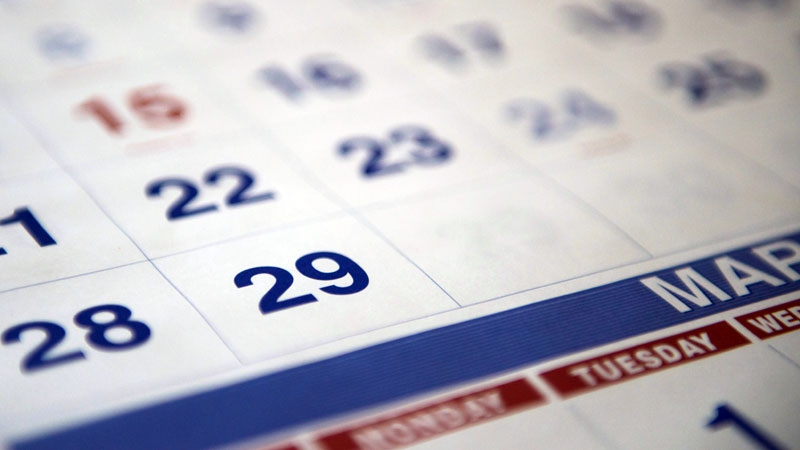 A 2016 calendar showing February 29, an extra day in February due to a leap year, is shown in Toronto on Wednesday, Feb. 24, 2016.  (THE CANADIAN PRESS/Graeme Roy)